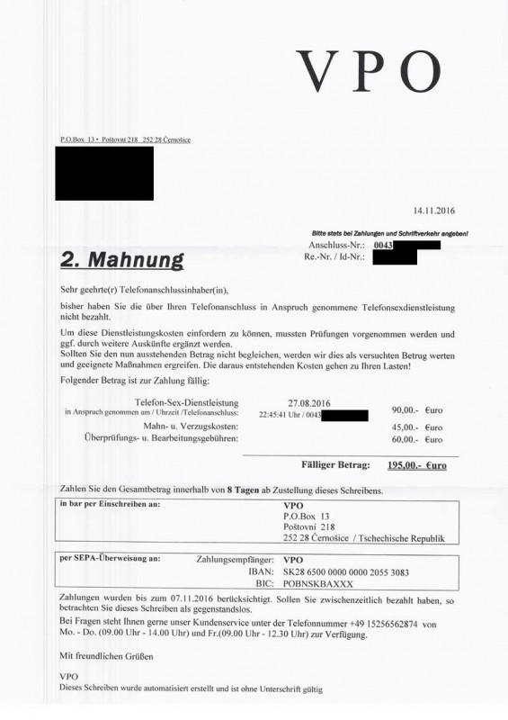 Achtung Abzocke Rechnungen Und Mahnungen Von Vpo Aus Der Tschechei